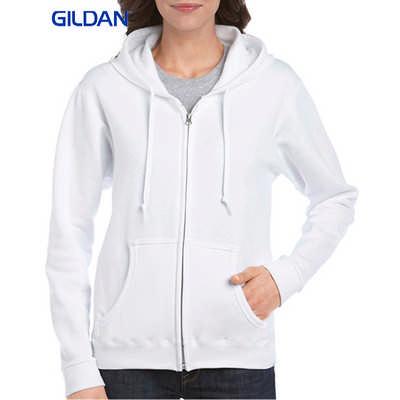 Gildan Heavy Blend Ladies Full Zip Hooded Sweatshirt White  (18600FL_WHITE_GILD)